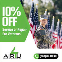 AIR4U is providing 10% off on service or repair for veterans.Contact us 888-70-AIR4U to grab the deal.