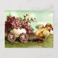 Vintage Easter Chick and Flower Wagon Holiday Postcard
