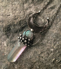 Elestial quartz- pendulum / pendant. The way from winter to spring. $29.00