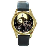 Halloween Jack Skellington on a Womens or Mens Gold Tone Watch with Leather Band $32.00