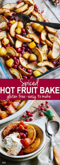 Easy Spiced Hot Fruit Bake is a delicious healthy holiday breakfast recipe! This hot fruit bake is great side for brunch or a dessert topping! Vegan option.
