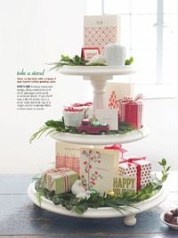 stand with gifts and other Christmas elements--love.