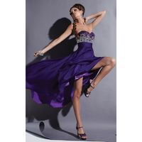 Eggplant Studio 17 12366 - Plus Size High-low Chiffon Crystals Sequin Dress - Customize Your Prom Dress