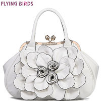 Flying birds designer women handbag 3D flower high quality leather tote bag female large shoulder bag messenger bags LM3515fb $65.58