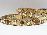 Metallic Gold Leather Dog Collars with Swarovski Crystal Bling, Perfect for Small Dogs, Puppies, Cats and Kittens $27.00