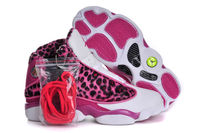 Features Leopard and Print Pink and White Nike Jordan 13 GS for Ladies