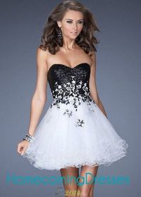 Strapless Black Floral Sequined Short White Homecoming Dress