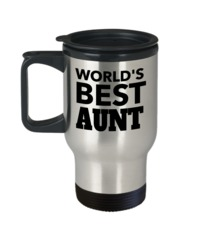 Great Aunt Travel Mug - Best Aunt Mug - Great Aunt Gifts - Birthday Gift For Aunt - Aunt And Niece Gifts - Aunt Gifts From Nephew - Words Best Aunt $19.95