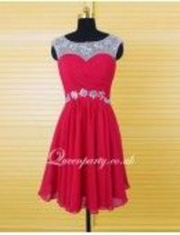 Red Cap Sleeves Illusion Neckline Short Party Dress