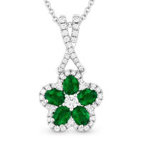 1.01ct Oval Cut Emerald & Round Diamond Pave Flower Pendant in 18k White Gold w/ 14k Chain Necklace