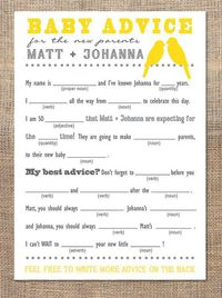 Mad Libs for baby shower