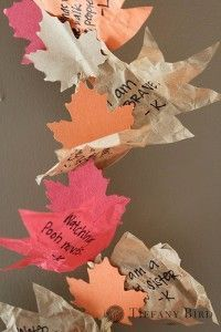 This reminds me of the leaf garlands a friend used to make each year. But i LOVE that there are words of gratitude on these!