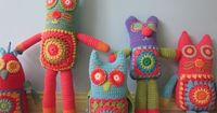 Granny square critters! So bright and fun, I love their manic expressions! :D