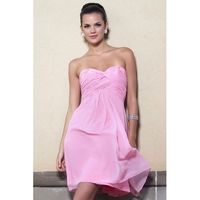 Simple A-line Sweetheart Ruching Short/Mini Chiffon Bridesmaid Dresses - Dressesular.com