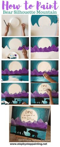 Learn how to paint a bear silhouette landscape painting with purple mountains and an optional quote on the moon! This step by step tutorial is simple, easy and