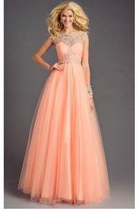 Classy Ball Gown Lace-up Jewel Ball Gown Prom Dresses