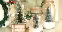 Save a few jars, and pick up a tree at the dollar store! Kitchen Christmas decoration