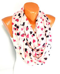 Scarf, Shawl, Heart Printed Scarf, Womens Shawl, Chiffon Scarf, Heart Scarf, Lightweight Summer Scarf, Gifts for christmas, for Mothers day $16.00