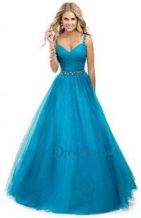 Blue Beaded Multi Straps Back Long Ruched Evening Dress 2014