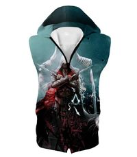 Ezio Auditore the Ultimate Assassin Cool Graphic Action Hooded Tank Top AC013 $33.99