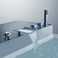 Curve Spout Three Handles Chrome Finish Tub Faucet with Handshower