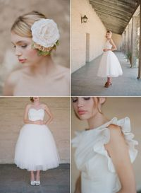 love the accessories...and the short wedding dresses :)