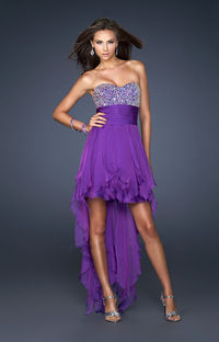 Formal Electric Purple High Low Chiffon Sequin Strapless Homecoming Dress Cheap http://www.2014partydresssale.com/
