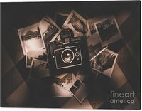 Films & Stills Canvas Art | Outdated and obsolete film camera on instant photo collection. Memory recollection | #canvasart #photographyart #wallprint #artwork #filmphotography #canvasprints #archiveroom #loft
