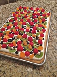 Deep Dish Fruit Pizza Julie just told me she used one thing of cream cheese w/ marshmallow cream to make fruit dip...try with this = YUMMY!!
