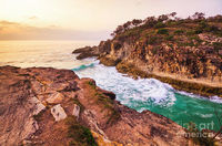 Sweeping Tide Art Print | Scenic seaside spillway with rocky gorge inlet at early dusk. Captured: South Gorge Headland - Gorge Walk, North Stradbroke Island, Queensland, Australia | #artprint #photoart #landscapes #stradbrokeisland #northstradebrokeisland...