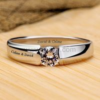 Custom 0.39 Carat Diamond Engagement Ring Gold Plated Silver by Gullei.com
