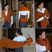 I really like this - This is the Every Way Wrap by Okmin Park. The pattern was in Fall 2009 Interweave Knits