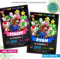 Super Mario Invitation // Super Mario Birthday // Super Mario Invite // Super Mario Girl Invitation // Luigi, Yoshi, Game, Nintendo $12.00