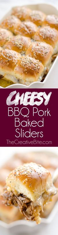 Cheesy BBQ Pork Baked Sliders are an easy family friendly meal you will want to make again and again! Pressure Cooker BBQ Pulled Pork and creamy Muenster cheese is layered on Hawaiian buns and topped with a savory butter sauce for a dinner that is absolut...
