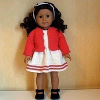 PDF Crochet Pattern - Dress, Cardigan and Hairband to American Girl Doll or similar 18 inch Doll. $4.50, via Etsy.