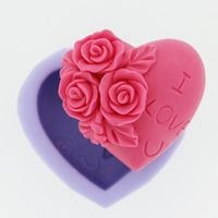 Rose Decoration Heart Silicone Soap mold Craft Molds DIY