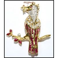 Genuine Ruby Diamond Bird Brooch/Pin Gemstone 18K Yellow Gold [I 018]
