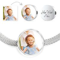 Personalized Engraved Round Charm Bracelet With Luxury Stainless Steel $49.95