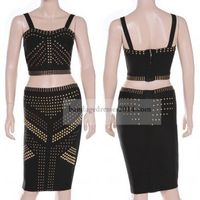 Black Studded Two Pieces Bandage Suits Outlet