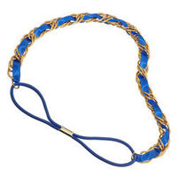 Dorothy Perkins Ribbon Through Chain Headband Gold chain and blue ribbon headband. http://www.comparestoreprices.co.uk/womens-accessories/dorothy-perkins-ribbon-through-chain-headband.asp