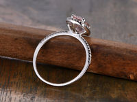 6X8MM OVAL CUT MORGANITE AND DIAMOND ENGAGEMENT RING 14K WHITE GOLD CUSHION HALO STACKING BAND