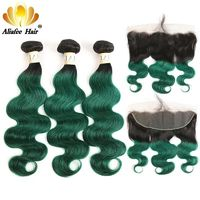 Ombre #1B/Green Body Wave Brazilian Hair Bundles with 13*4 Frontal $777.36