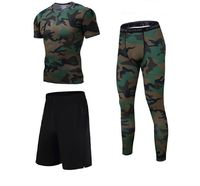Men's Compression Running Sports Set Three Equipment Short Sleeve T-shirt Shorts And Leggings For Basketball Gym Soccer Sets $72.99
