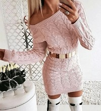 Drop Shoulder Cable Knit Warm Sweater Dress at www.fashionsqueen.com