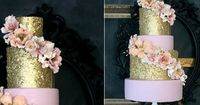 Edible Gold Sequins and Pale Pink with floral accents by The Caketress. Gold and pink wedding cake.