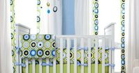 Blue and Green Giddy Dot Crib Bedding | Carousel Designs #nursery #baby