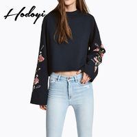 Oversized Vogue Embroidery Scoop Neck Floral Fall 9/10 Sleeves Hoodie - Bonny YZOZO Boutique Store