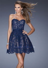 La Femme 20451 Navy Sweetheart Neck Homecoming Dresses