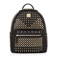 MCM Small Swarovski Backpack In Black
