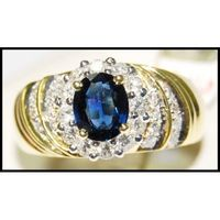 18K Yellow Gold Natural Diamond Gemstone Blue Sapphire Ring [RB0027]